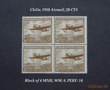 *(1) Block of 4 Mnh Chile Air Mail Stamps from 1950. Scott#C135, 20Cts*
