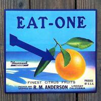 Vintage Original EAT-ONE ORANGE CITRUS Crate Box Label 1930s NOS Unused