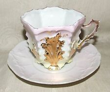 Antique Victorian CUP & SAUCER Aesthetic Pink Yellow Shaded Seaweed Shell GILT