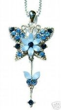 w Swarovski Crystal Blue Bridal Bridesmaid BUTTERFLY FLOWER Pendant Necklace New
