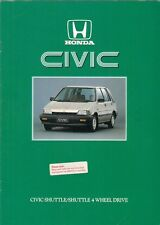 Honda Civic Shuttle 1986 UK Market Sales Brochure 1.5 2WD 4WD