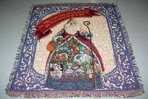 Jim Shore Santa ~ Twelve Days of Christmas Tapestry Afghan Throw