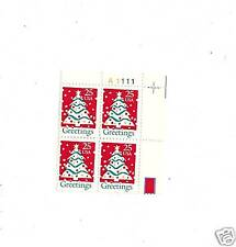SCOTT#2515 GREETINGS XMAS TREE #D BLOCK 4-25 CENT STAMP