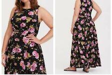 374bd9d2bc8 Torrid Black Floral Georgette Maxi Dress 1x 14  94726