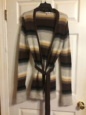 Vince Colorblock Striped Cashmere Knit Cardigan Belt Wrap Size L