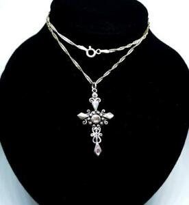 """Abalone Shell Cross 925 Sterling Silver Necklace (Pendant & 16"""" Singapore Chain)"""