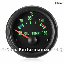 52mm Green Traditional Black Face Oil Temp Temperature Gauge Kit - With Sensor