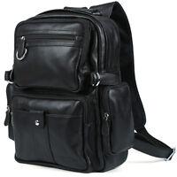 Men's Boy's Genuine Cowhide Leather Tote Shoulders Backpack School Bag Bookbag
