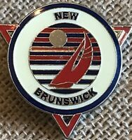 Vintage Collectible Pin: New Brunswick Canada Flag Sailboat Brass And Enamel