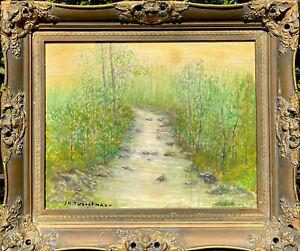 John Henry Twachtman Oil Impressionist Tonalism Old Lyme CT Landscape Circa 1895