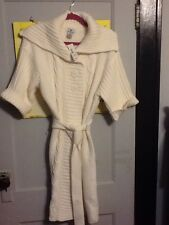 JcPenney's Worthington Cable Knit Sweater Duster Women's Large Ivory NWT NEW $58