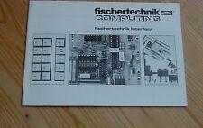 fischertechnik - Computing Anleitungsheft Fischertechnik Interface -- Unbenutzt!