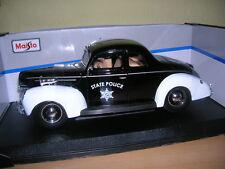 Maisto 1939 Ford Deluxe State Police Polizei schwarz weiss, 1:18