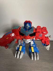 "Transformers Rescue Bots Optimus Prime T-Rex Dinosaur 9"" Figure Playskool"