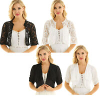 Women's Jacket Lace Chiffon Casual Short Coat Top Cardigan Shawl Shrug Plus Size