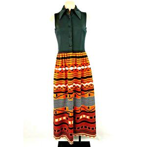 70s Maxi Psychedelic Festival Dress Prairie Aztec Hippie Kaftan Dress BOHO XS/S