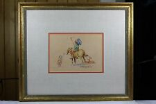 Watercolor of Native American on Horseback by Well Known Artist Emerson Lewis