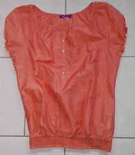 Mexx Bluse orange Gr. 40 L luftig Sommer Shirt Oberteil kurzarm Business