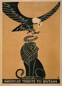 America'S Tribute To Britain, Vintage British WW1 Propaganda Poster