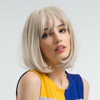 12 Inch Synthetic Bob Wigs With Bangs Short Blonde Straight Party Wigs For Women