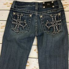 MISS ME JP5009A Boot Whiskers Distressed Destroyed Light Washed Jeans Sz 27