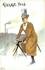 POSTCARD COMIC CYCLISTS OF THE WORLD - NEW YORK  -  ROSETTI - VINTAGE
