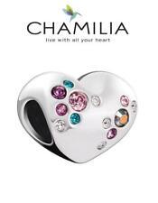 CHAMILIA 925 silver & Swarovski CRYSTAL CLUSTER HEART charm bead, love valentine