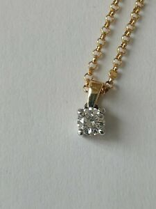 "9ct Yellow Gold Solitaire Fiery Diamond Necklace 0.13ct Pendant on a 16"" Chain"