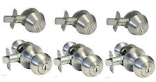 Set of 3 Entry Deadbolt Door Lock sets, Satin Nickel. All Locks Keyed Alike