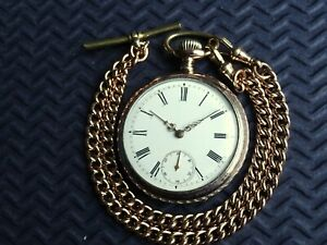 Beautiful Silver & Gold Gents Pocket Watch & Double Albert Chain. c1920 Antique