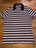 Hochwertiges Poloshirt, Stretch, weiß-blau-rot-gestreift, Größe 48