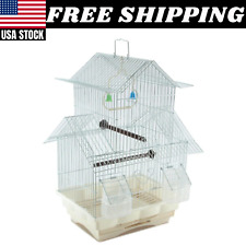 Bird Cage House Style Starter Kit Swing Perch Feeder Two Story Roof Design Small