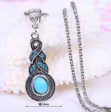 Tibetan Silver Blue Turquoise Chain Crystal beaded Pendant Necklace Jewelry gift