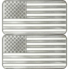 SilverTowne American Flag 10 oz .999 Silver Bar LOT of 2