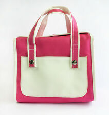 Lancome Pink & White Canvas & Faux Leather Makeup Cosmetics Toiletries Case Bag