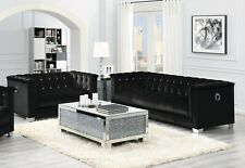 CONTEMPORARY BLACK VELVET RHINESTONE SOFA & LOVE SEAT LIVING ROOM FURNITURE SALE