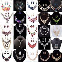 Women Fashion Crystal Chain Pendant Bib Choker Statement Necklace Set Earrings