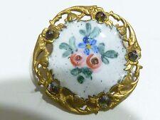 Bouton ancien émail métal clous  knopf Antique French Button Enamel Cut Steel