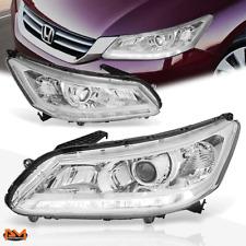 For 13-15 Honda Accord Projector Headlight W/LED DRL Chrome Housing Clear Corner