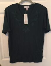 Nwt Forest Green Blouse w/ Beaded Textured Design By Naomi Bee Size Medium