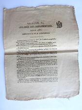 EXTRAIT CHAMBRE DES REPRESENTANS PROJET ACTES CONSTITUTIONNEL 4 Juillet 1815