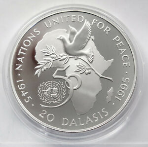 GAMBIA 20 DALASIS 1995 ( UNITED NATIONS ) SILVER Comm Coin (KM# 37a) PROOF