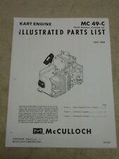 1968 McCULLOCH KART ENGINE MC 49-C ILLUSTRATED PARTS LIST MANUAL, COPY