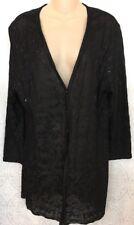 St John Evening Cardigan Jacket Black Embroidery Rhinestones Long Size 14