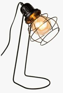 VINTAGE INDUSTRIAL STYLE BLACK METAL WIRED DESK LAMP TABLE LIGHT NEW IN GIFT BOX