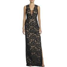 AIDAN MATTOX ~ Black Metallic Lace Illusion Neck Column Formal Gown 12 NEW $395