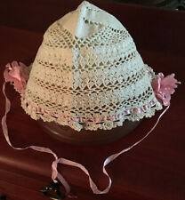 Vintage Hand Crocheted Baby Bonnet/Hat Light Ivory-Pink Ribbon ca 1920 (as is)