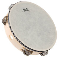 Tambourine Double Row 10 inch Hand Held Drum Percusion Metal Jingles Bell Birch
