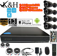 K&H 4-8CH 1080N DVR 1.3MP CCTV IR Home Surveillance Security Camera System Night