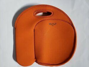 Built NY Byobag  Orange Neoprene Lunch & Bottle Carrying Tote Bag EUC